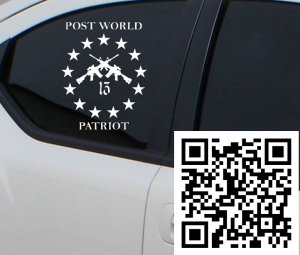 "7"" x 5.5"" white vinyl car decal"