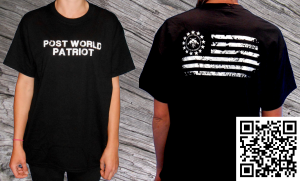Black T shirt with Post World Patriot on the front and the PWP flag on the back
